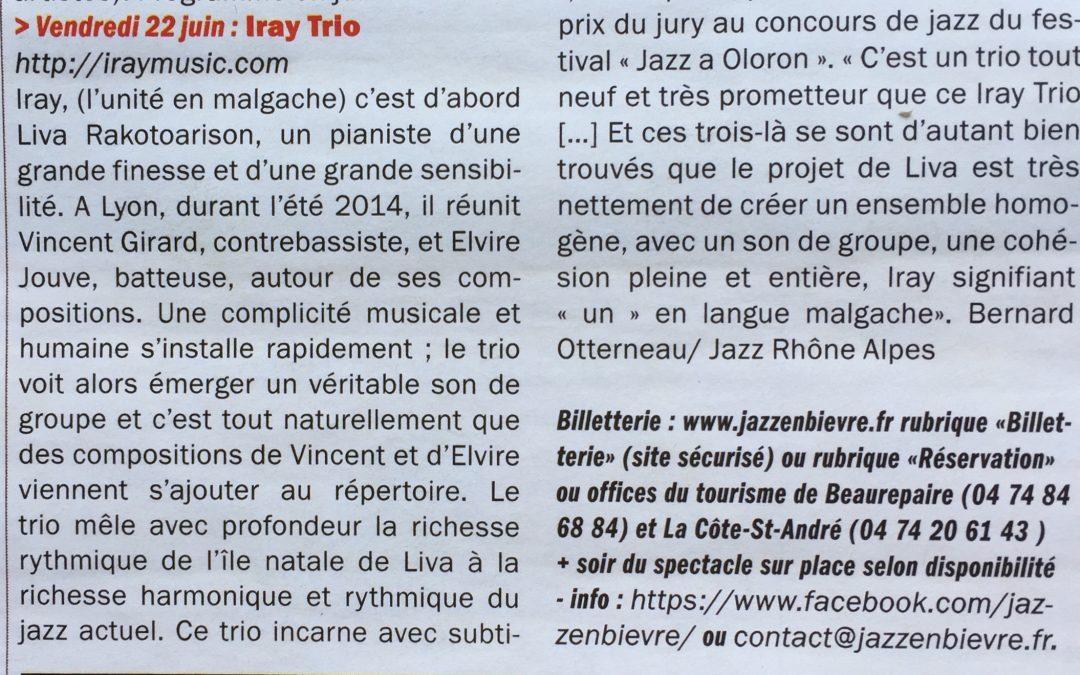 – Annonce concert Iray Trio dans L'Indispensable de Juin